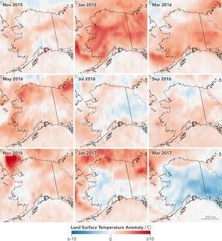 Marzo de 2017 rompe la racha cálida de Alaska