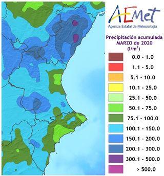 Marzo de 2020 en la Comunidad Valenciana: extremadamente húmedo