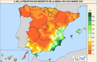 Marzo de 2021: el más seco de este siglo en España