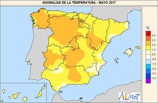 Mayo de 2017 en España, seco y extremadamente cálido