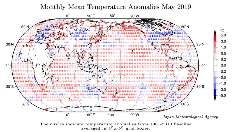 Anomalías térmicas medias del mes de mayo de 2019