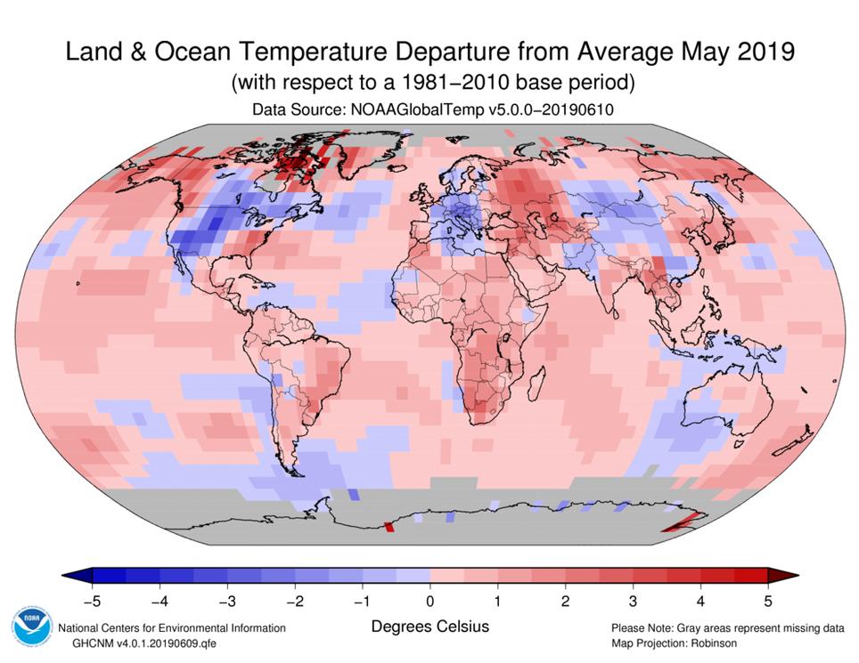 Anomalías de temperatura para mayo de 2019. NOAA