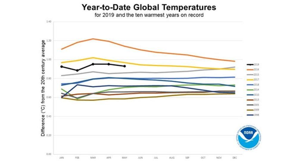 Anomalías globales de la temperatura del año hasta la fecha en 2019 (traza negra) en comparación con los diez años más cálidos registrados. Hasta mayo, solo 2016 y 2017 comenzaron más cálidos que 2019. NOAA
