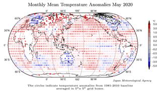 Mayo de 2020: el más cálido de la serie a nivel global según JMA