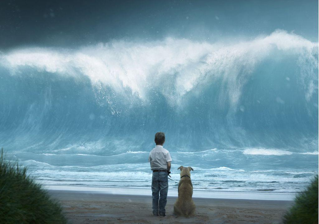 Niño con perro frente a ola gigante