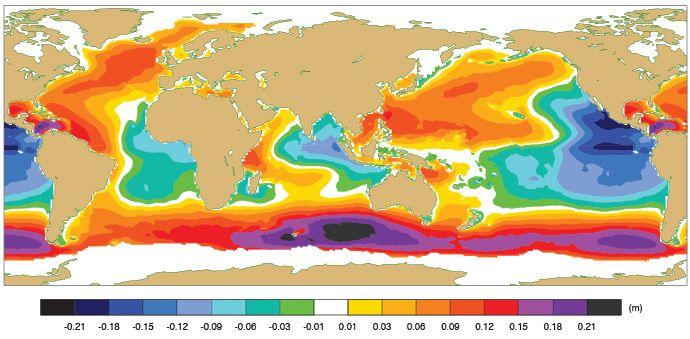 Diferencia media anual en altura de ola significativa entre la física de la ola nueva y la antigua. Los datos son del modelo de onda independiente que se ejecuta con las variables atmosféricas y oceánicas proporcionadas por el reanálisis de ERA5.