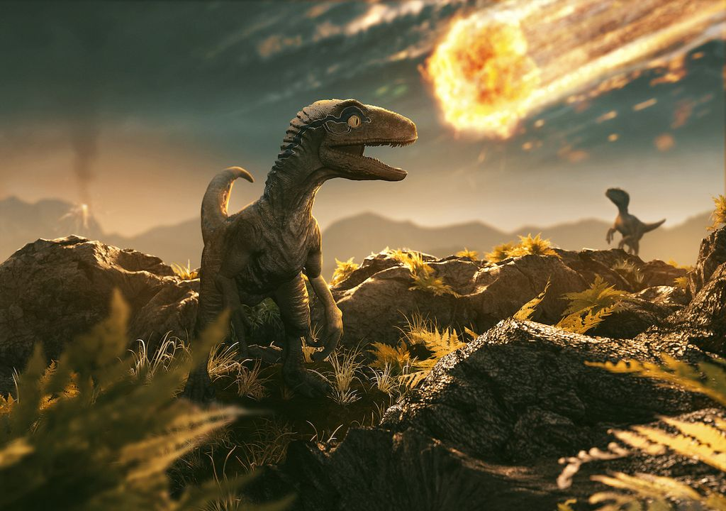 Asteroid and dinosaur.
