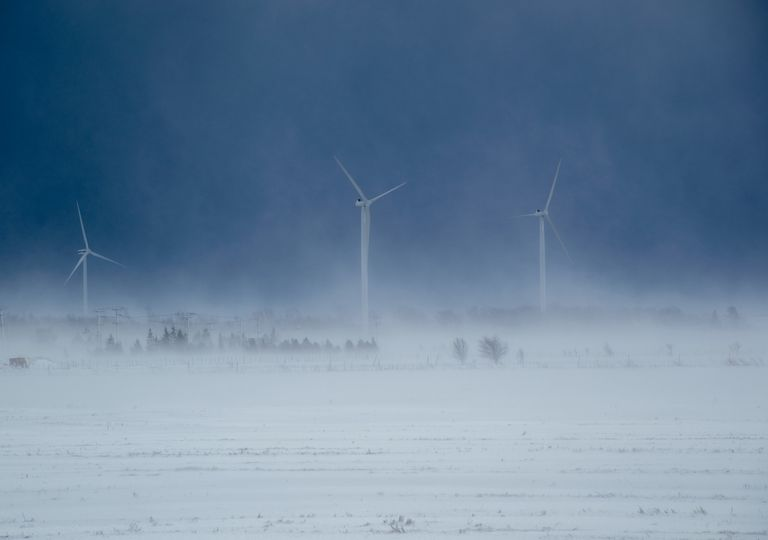 Wind turbines in West Texas have become frozen, with limited power output.