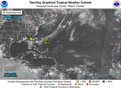 Bajas tropicales vigiladas en el Atlántico Norte y Pacífico Oriental