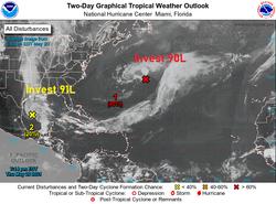 Dos sistemas tropicales vigilados en el Atlántico: Invest 90L y 91L
