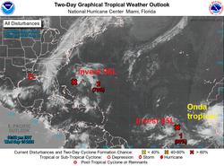 El duro Nicholas y tres ondas activas en el Atlántico tropical