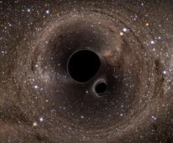 """El efecto Fujiwhara con agujeros negros que """"chocan"""""""