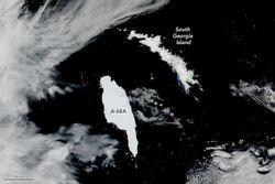 El iceberg gigante A68A se acerca a Georgia del Sur