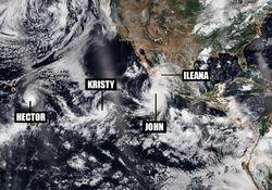 El Océano Pacífico superpoblado de ciclones tropicales
