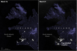 La erupción volcánica ilumina Islandia