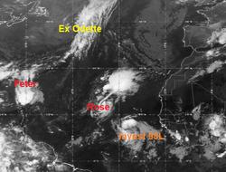 La tormenta tropical Sam en pocos días, Peter y Rose en aguas abiertas