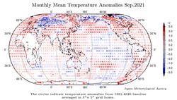 Septiembre 2021 a nivel global: el 3º más cálido