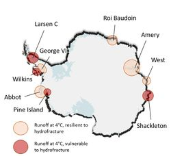 Vulnerabilidad de las plataformas en la Antártida