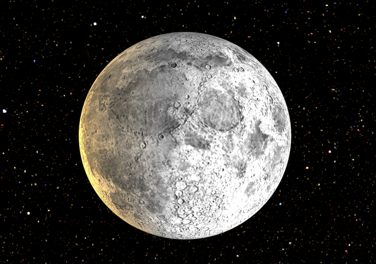 The Moon with craters and lava flows.