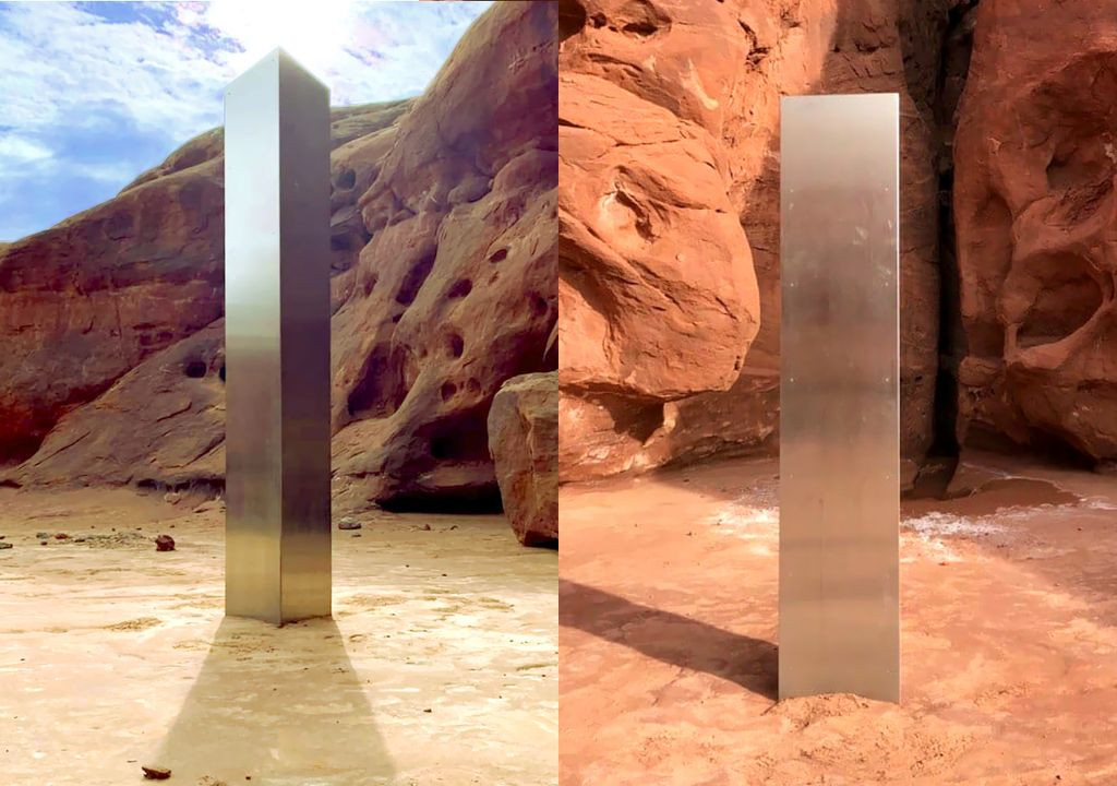 The monolith was found during a helicopter survey and had been in place for at least 5 years. (images: Utah Department of Public Safety Aero Bureau)
