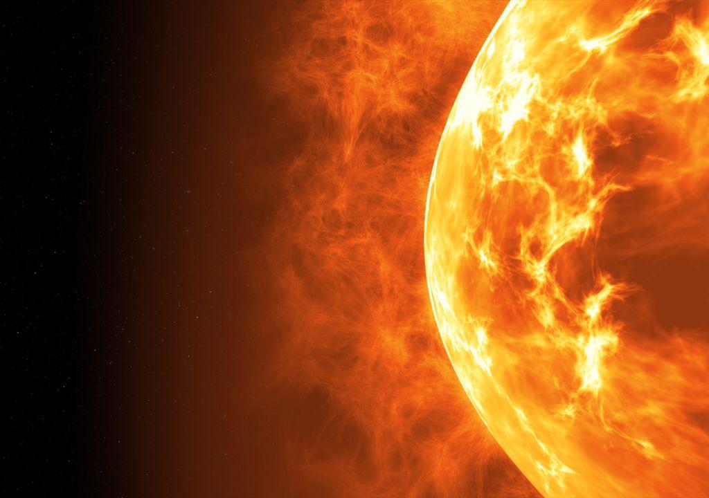 Superfície do Sol com erupções solares.