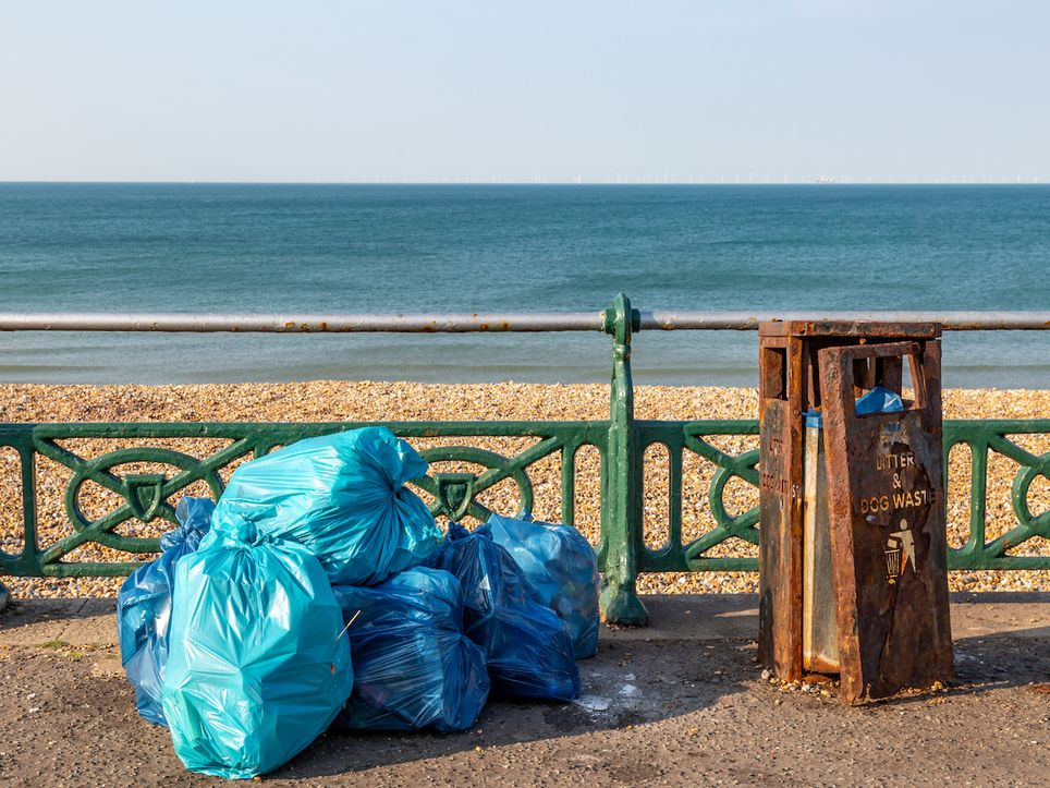 Plastic by the beach.