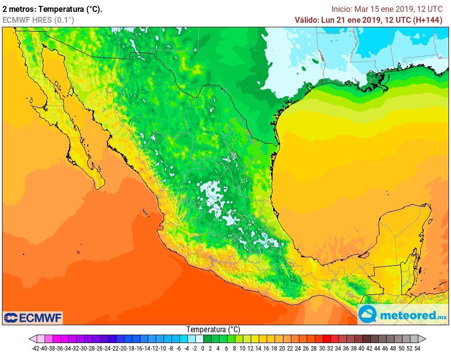 Modelo ECMWF. Previsión de temperaturas mínimas lunes 21 de enero de 2019