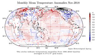 Noviembre de 2018: el segundo más cálido según JMA