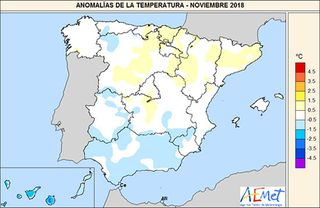 Noviembre de 2018 en España, húmedo y con temperaturas cercanas a la media