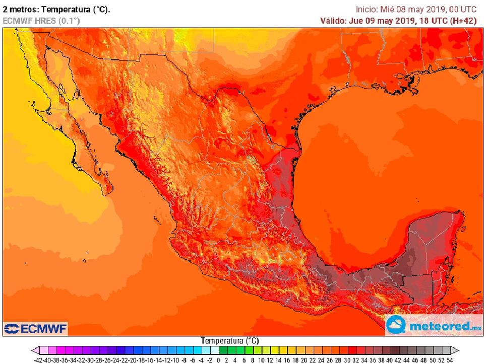 Modelo ECMWF. Temperatura máxima jueves 9 de mayo de 2019.