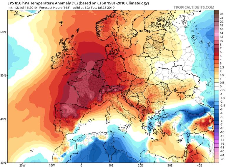 Anomalías de temperaturas en 850 hPa del modelo probabilístico EPS-ECMWF para en día 23 de julio de 2019 12 UTC. Tropicaltidbits