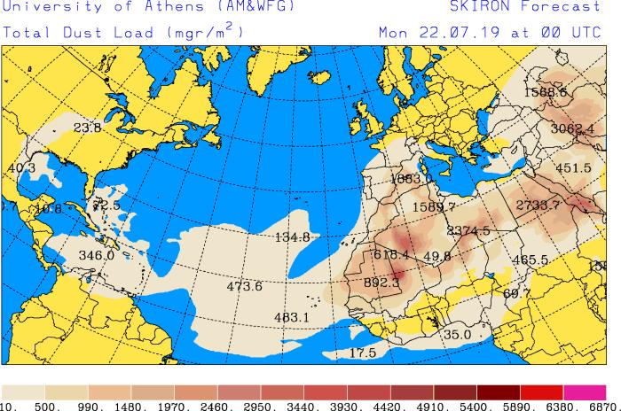 Predicción de polvo para el 22 de julio de 2019 a las 00 UTC. Skiron-Universidad de Atenas