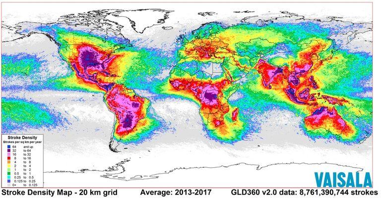 Nuevo Mapa Global Y Actualizado De Descargas Eléctricas De Vaisala