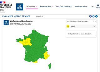Nuevo portal de avisos de Météo France: claves para entenderlo