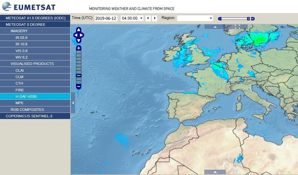 Captura de pantalla de dicho productos desde EUMETView para el 12 de junio de 2019. EUMESAT para el nuevo producto de precipitación H-SAF, H03B