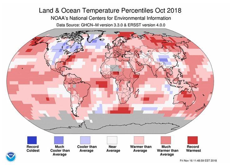 Octubre De 2018: El 2 De Octubre Más Cálido De La Tierra Solo Superado Por Octubre De 2015