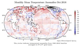 Octubre de 2018: el segundo más cálido en la serie de JMA