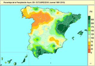 Octubre de 2018 en España: normal en cuanto a temperaturas, y húmedo