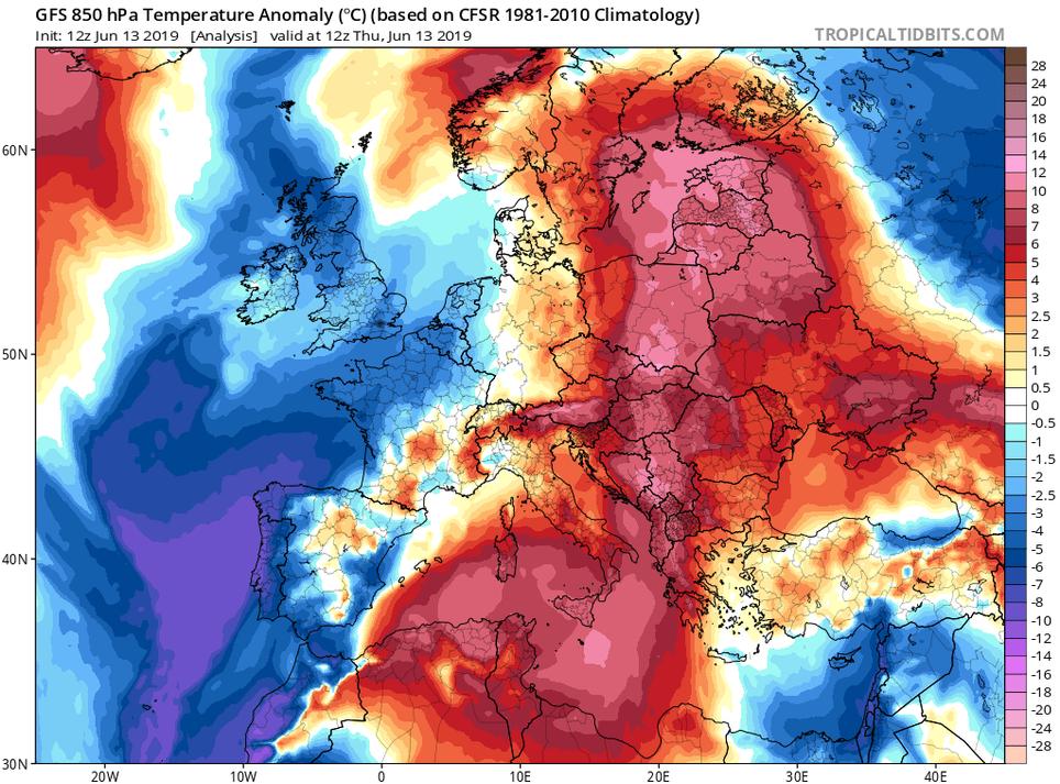 Anomalías de temperaturas en 850 hPa para el 13 de junio de 2019 a las 12 UTC. Tropicaltidbits