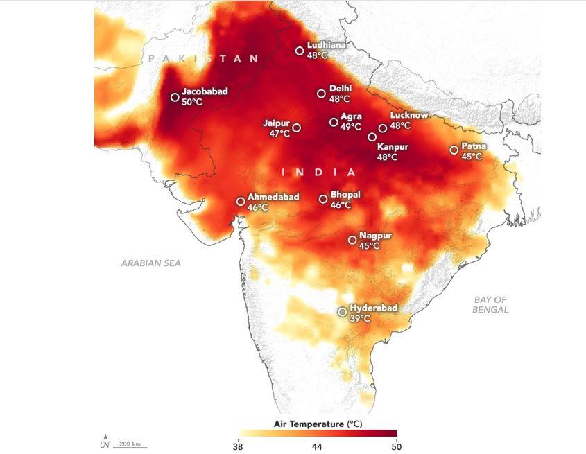 Temperaturas del 10 de junio de 2019 en India y Pakistán