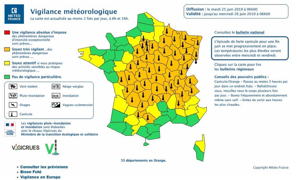Avisos meteorológicos emitidos por Météo-France a primeras horas del 25 de junio de 2019