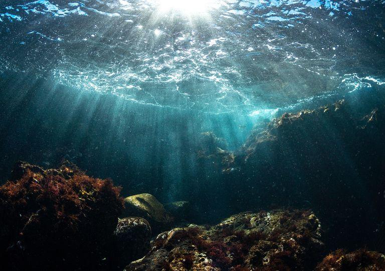 Sol iluminando fondo marino