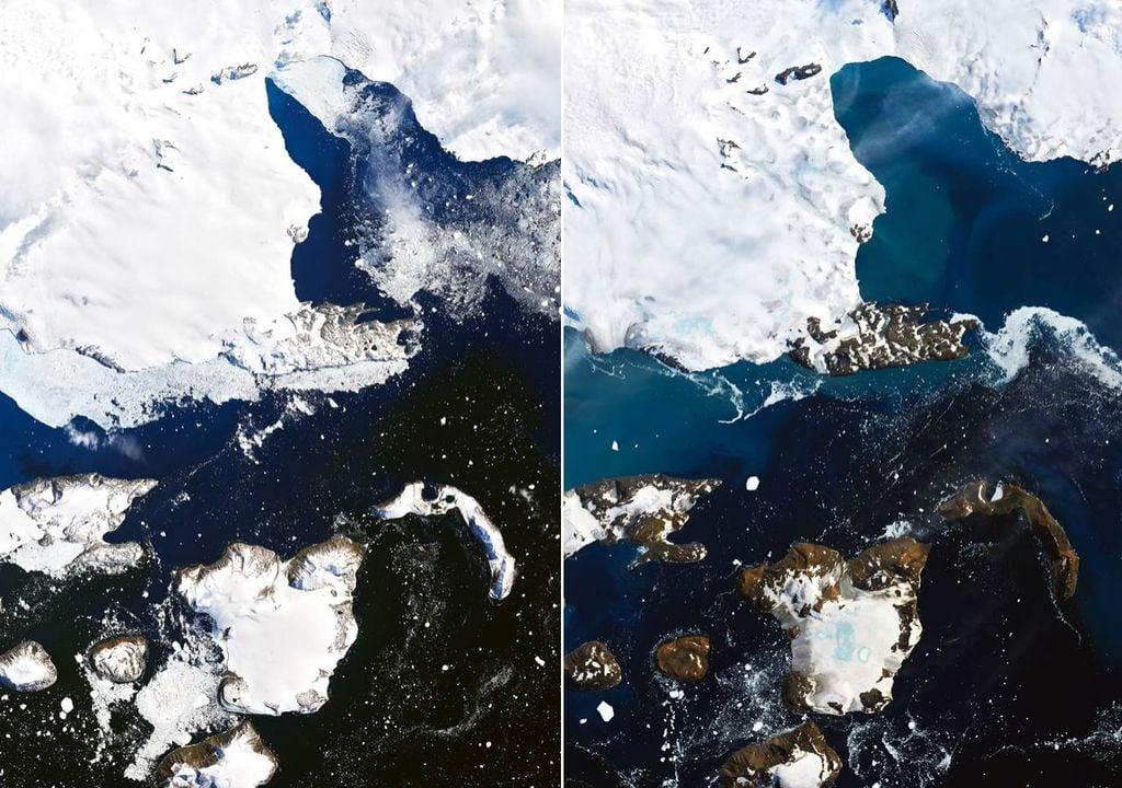 Melting ice in Antarctica.