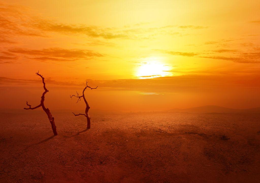 Onda de calor no deserto.