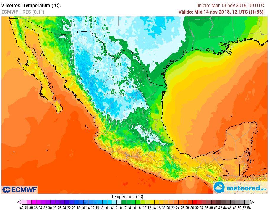 Modelo ECMWF. Previsión de temperaturas mínimas, miércoles 6 am