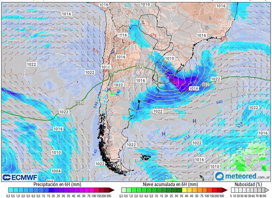 Ciclogénesis Argentina lluvias tormenta viento alerta