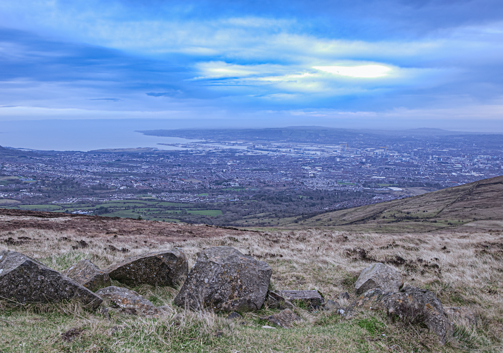 Belfast can be viewed from Divis Mountain - a popular beauty spot for walkers.