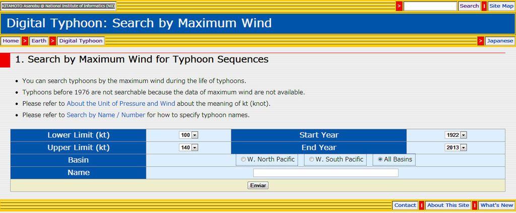 Página Web Y Base De Datos De Tifones: Clasificación Por Intensidad