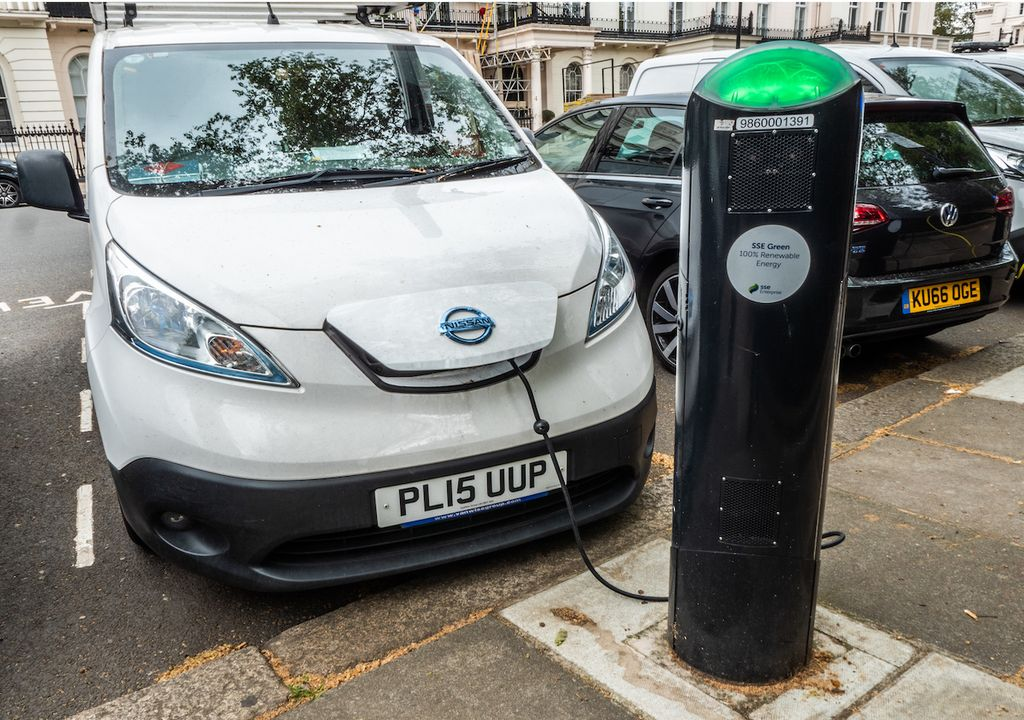 Electric car charging in London.
