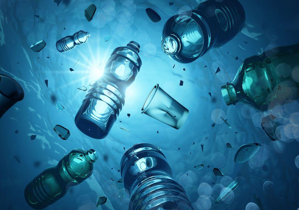Plastic pollution in the ocean.